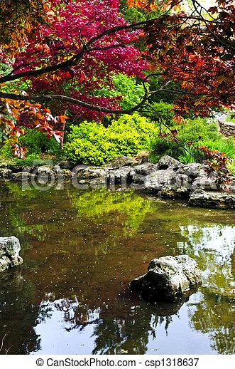 Pond in zen garden - csp1318637