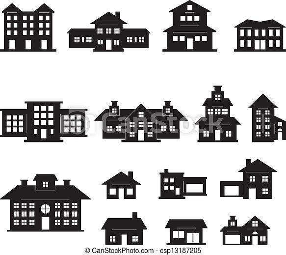 Haus clipart schwarz weiß  Vektor Clipart von 2, haus, weißes, satz, schwarz - House, Black ...