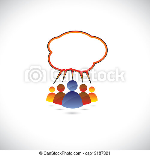 Colorful graphic of people chatting, talking, communicating. The - csp13187321