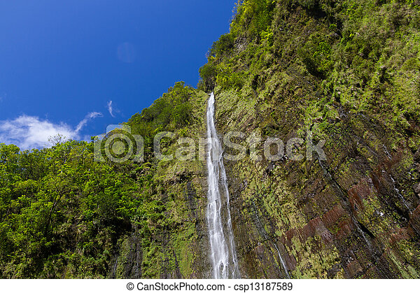 Waterfalls Against a Lush Backdrop and Blue Sky - csp13187589