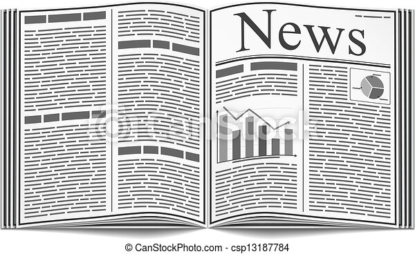 Open Newspaper Clipart Vector of Newspaper - ...
