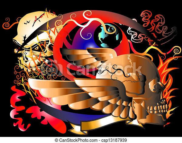 art skull rock - csp13187939
