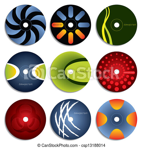 Vector Clip Art of CD & DVD label designs - Various CD & DVD label ...
