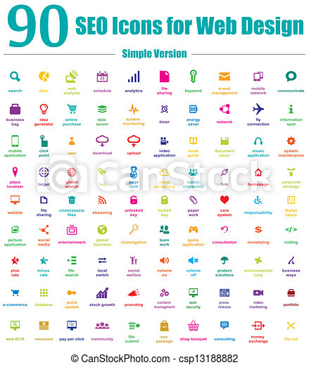 90 SEO Icons For Web Design Simple  - csp13188882