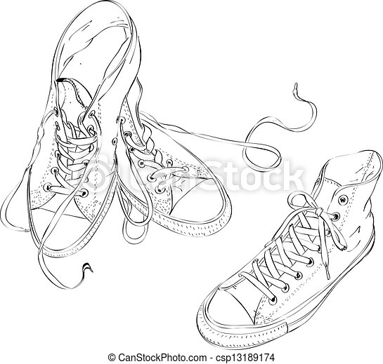 Sneakers in Black and White  - csp13189174