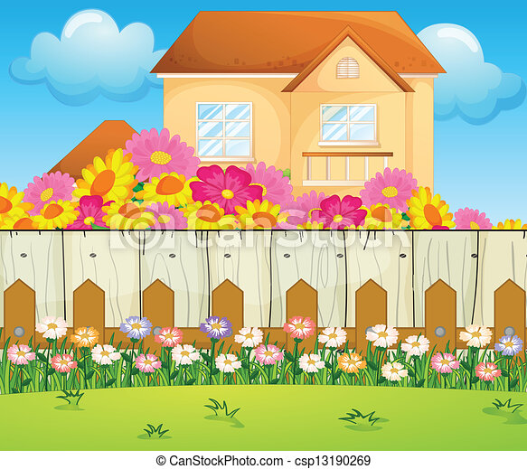 clip art vector of a house with blooming flowers - illustration of