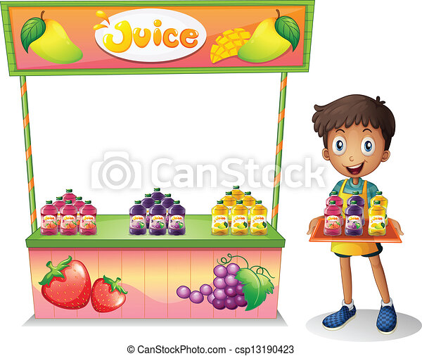Of a boy selling fruit juices illustration of a boy selling