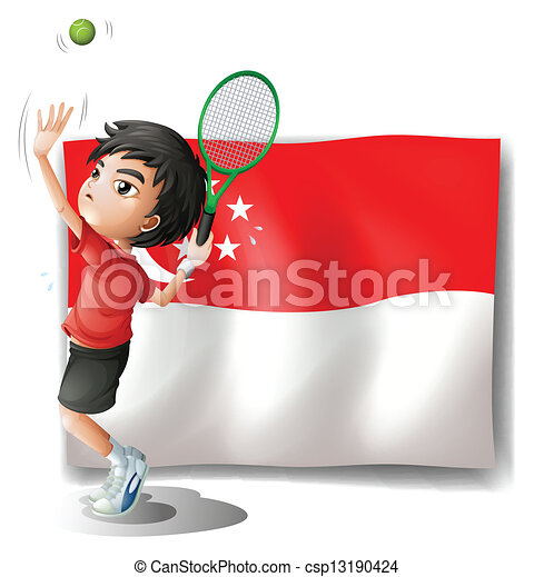 A boy playing tennis in front of the flag of Singapore - csp13190424