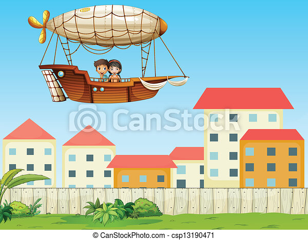 Two kids riding in an aircraft above the village - csp13190471