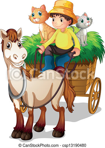 A farmer riding in a strawcart with his farm animals - csp13190480