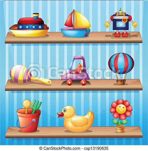 Vectores de de madera diferente juguetes tres estantes - Estantes para juguetes ...