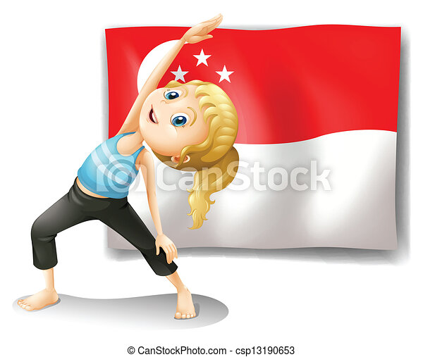 A girl with the flag of Singapore - csp13190653