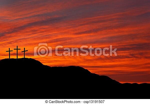 ostern, kreuze, religiöses, hintergrund - csp13191507