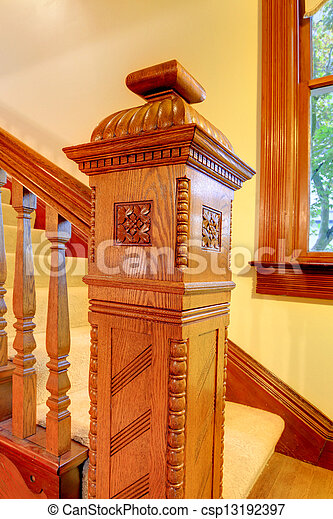 Antique Wood carved staircase railing details. - csp13192397