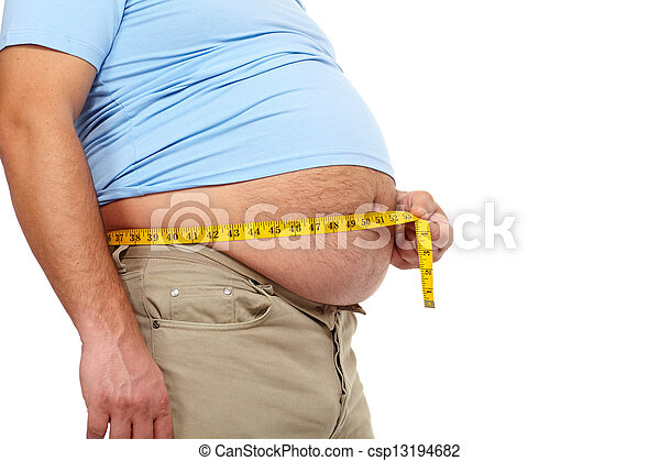 Fat man with a big belly. - csp13194682