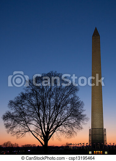 Washington landmark at sunset - csp13195464