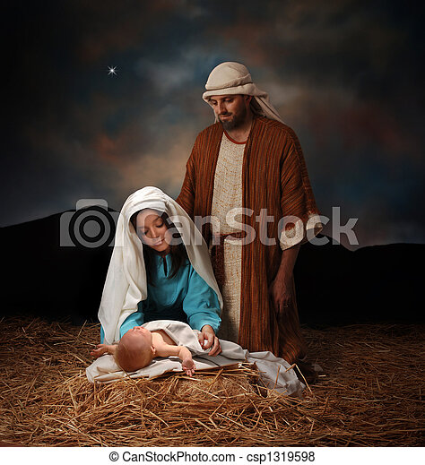 Nativity scene with Mary, Joseph and baby Jesus looking into hills in the distance