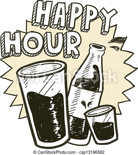 Clip Art Happy Hour Clip Art vector of happy hour alcohol sketch doodle style csp13196582
