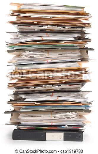 photographies de documents pile tas de documents et fichier dossiers csp1319730. Black Bedroom Furniture Sets. Home Design Ideas
