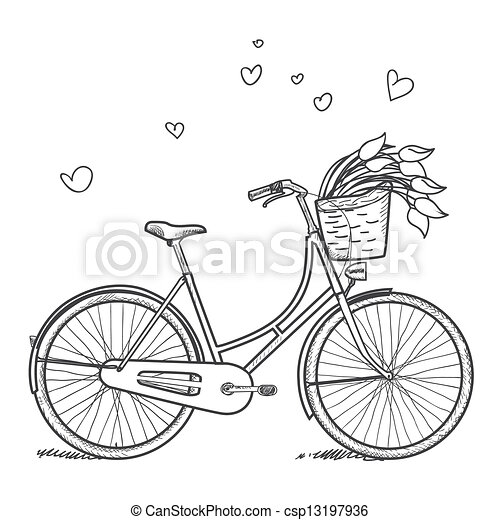 vintage bicycle with basket drawing 2015 images