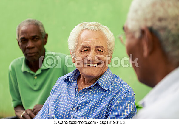 Group of old black and caucasian men talking in park - csp13198158