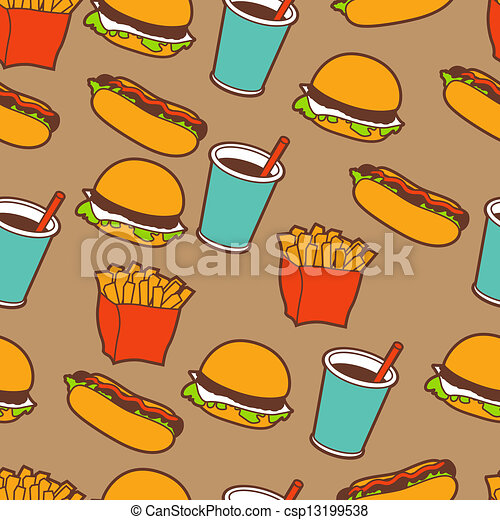 Fast food seamless pattern in retro style. - csp13199538