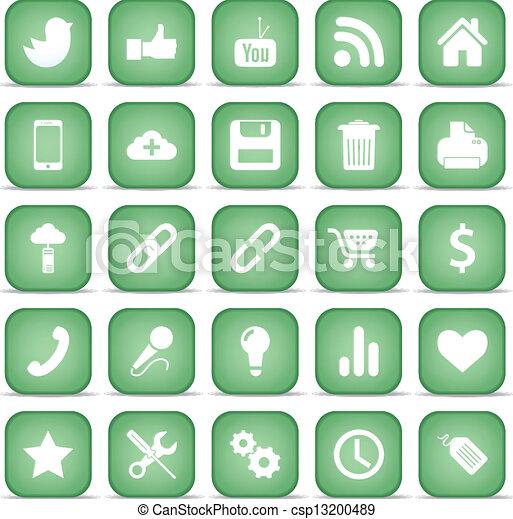 Communication icons. Web set Internet collection. - csp13200489