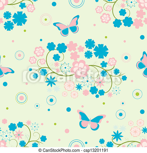 background with flowers and butterflies - csp13201191