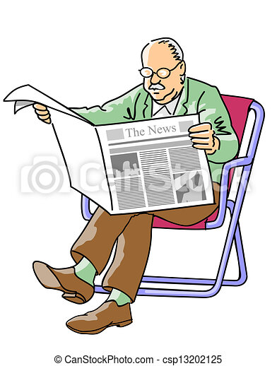 Vector Illustration Of Grandfather Reading The Newspaper