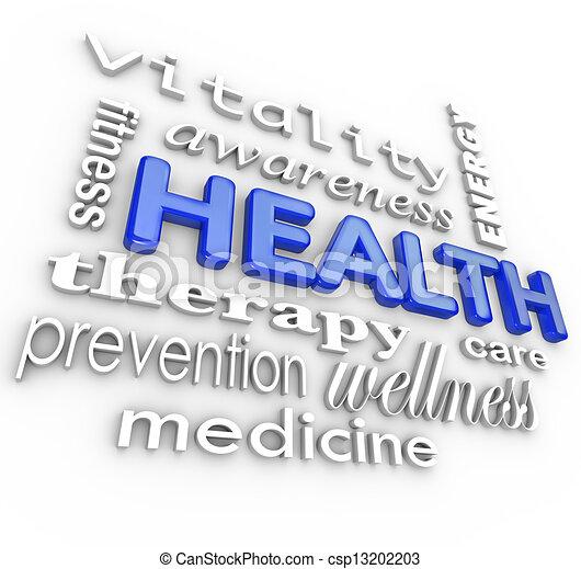 Health Care Collage Words Medicine Background - csp13202203