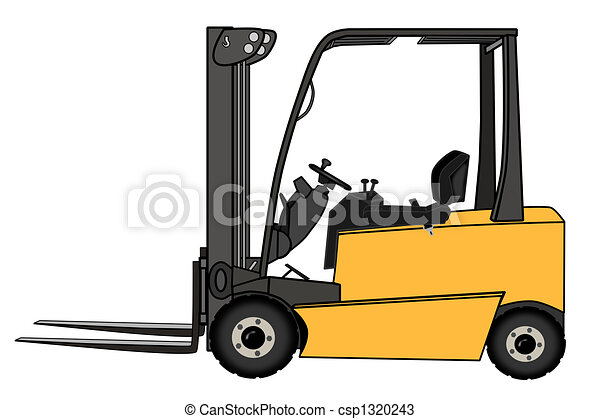 Isolated Yellow forklift illustration - csp1320243