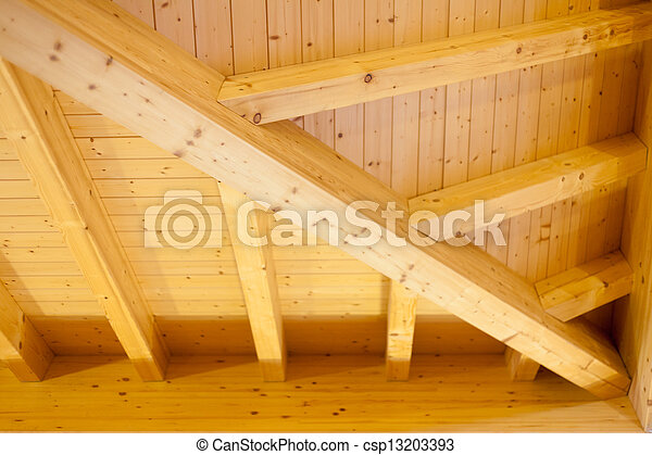 Architectural detail of an indoor wooden ceiling - csp13203393