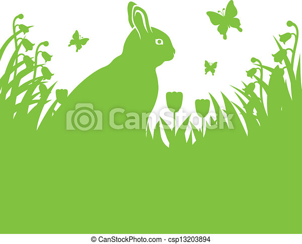 Spring background with Easter bunny - csp13203894