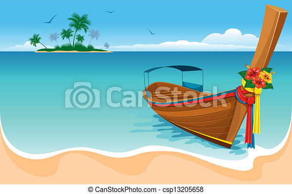 Clipart Vector of Long tail boat on the tropical beach csp13205658 ...