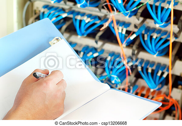 Data center servers and fiber optic cable - csp13206668