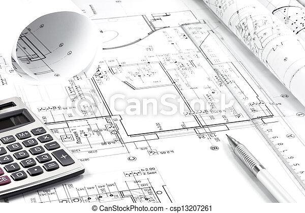 Instrument, arkitektur, teckning - csp13207261
