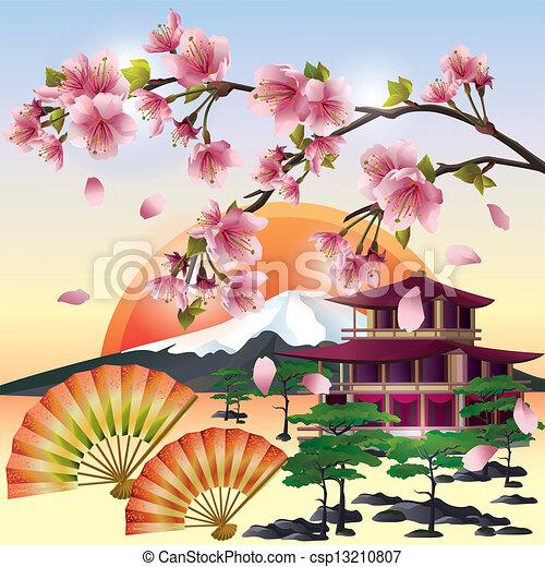 Japanese Landscape Drawing Japanese Landscape Vector