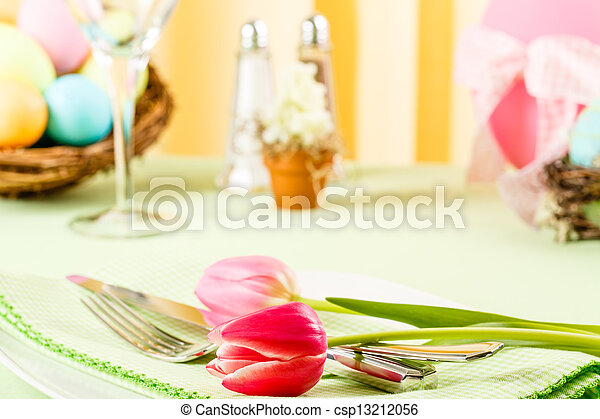 Pink Tulips On An Easter Table - csp13212056