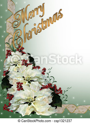 Christmas White Poinsettia Backgrou - csp1321237