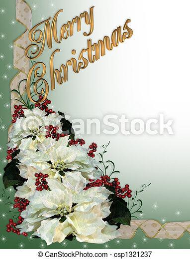 Christmas White Poinsettia Backgrou - csp1321237