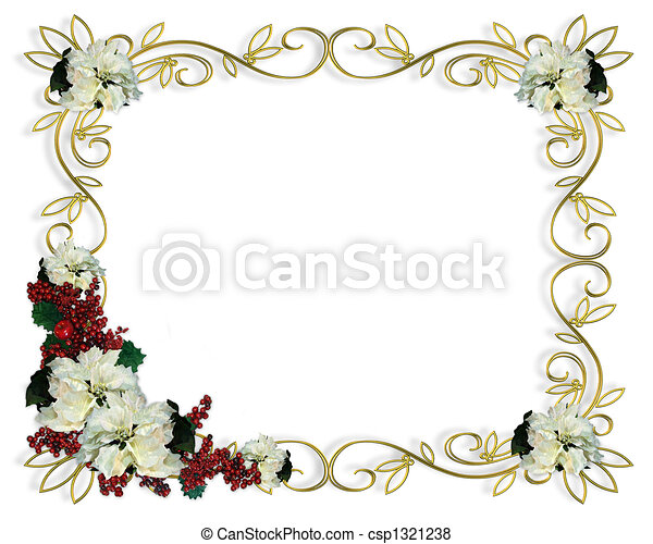 Christmas Frame Border White Poinse - csp1321238