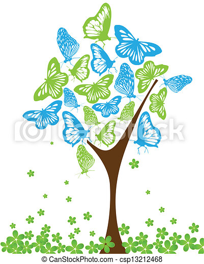 clip art vecteur de bleu vert papillons arbre bleu. Black Bedroom Furniture Sets. Home Design Ideas