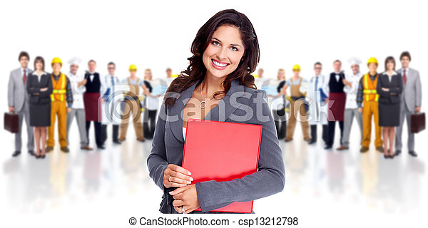 Business woman and group of workers people. - csp13212798