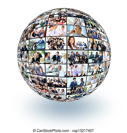 A globe is isolated on a white background with many different business people - csp13217407
