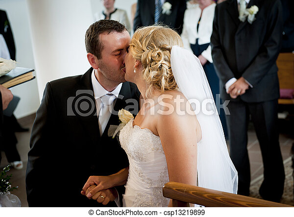 Stock Photographs of Wedding ceremony - Bride and groom in the church at the...