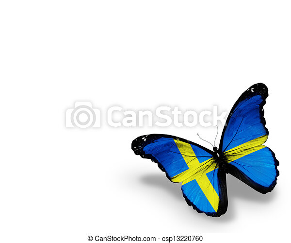 Swedish flag butterfly, isolated on white background - csp13220760