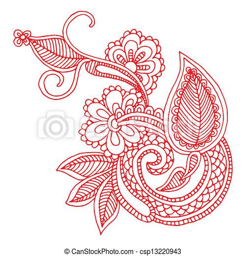 EPS Vector Of Neckline Embroidery Design Floral