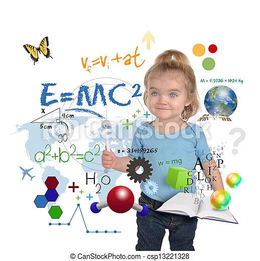 Young Math Science Girl Genius Writing - csp13221328
