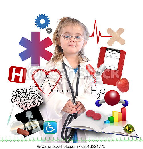 Child Doctor with Academic Career on White - csp13221775