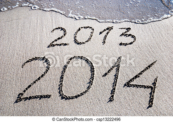 Happy New Year 2014 replace 2013  - csp13222496